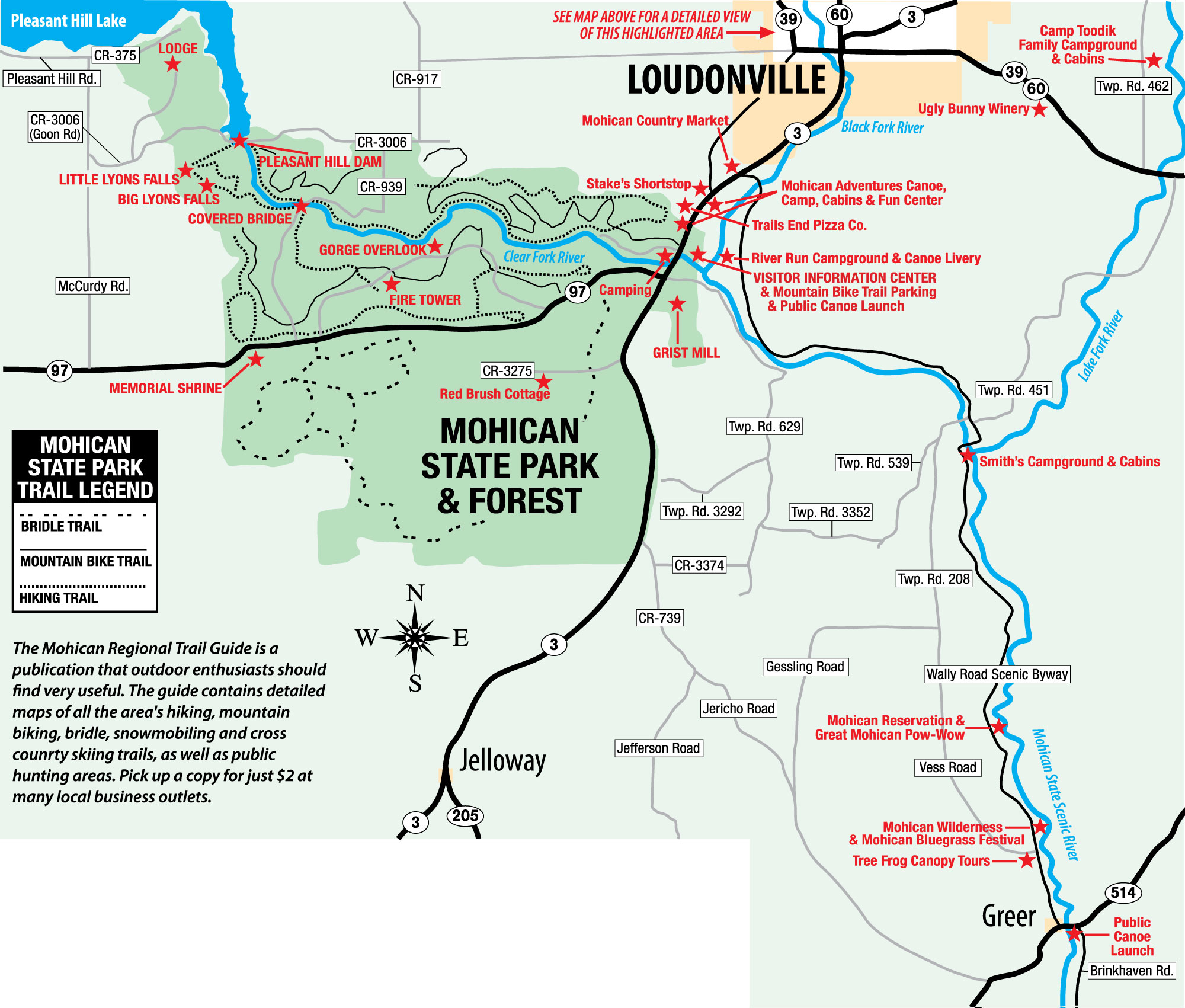Mohican State Park Map Maps   Mohican Attractions Mohican State Park Map
